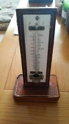 Vintage Leather Desk Thermometer Made in England.