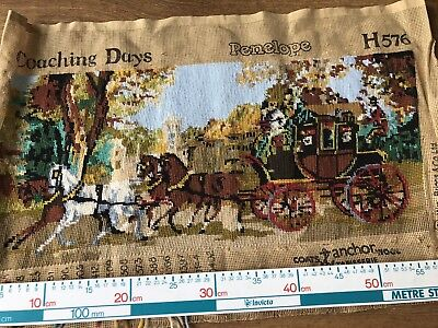 "Vintage Penelope Needlework Tapestry Canvas Coaching Days 24"" by 11""  Completed"