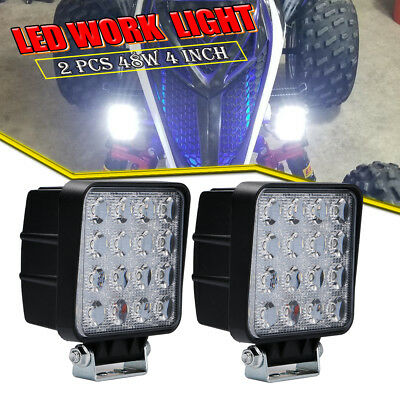 48W 4INCH Square LED Work Light Bar Spot Off-road BUMPER Driving Car Truck Jeep
