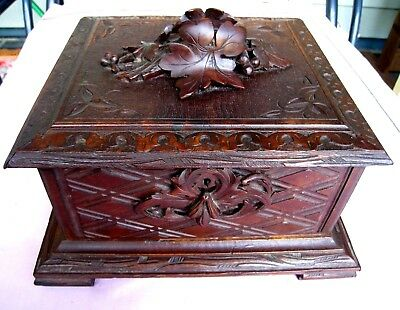 Antique Wood Carved Humidor or Box....European...Raised Carving....PRICE REDUCED