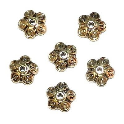 M532 Antiqued Gold 10mm 5-Petal Round Scalloped Filigree Flower Bead Caps 10pc
