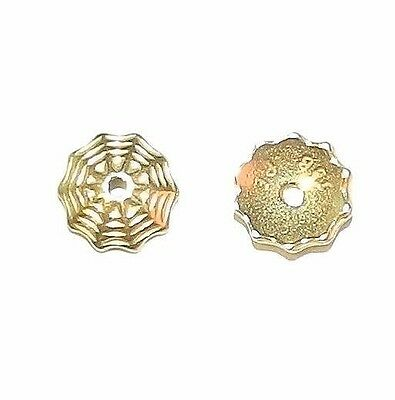 M533 Bright Gold 8mm Round Lacy Spider Web Pewter Bead Caps 2pc