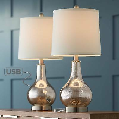 Modern Accent Table Lamps Set of 2 with USB Mercury Glass for Living Room Office