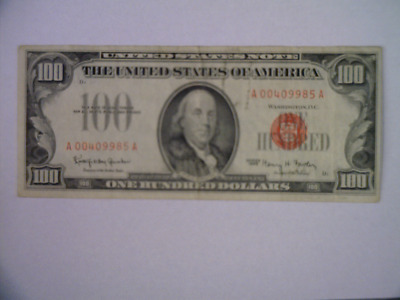 $100. 1966 Red Seal Legal Tender United States Note Average Circulated Very Fine