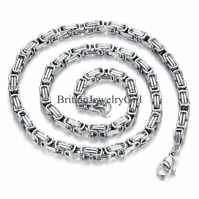 "22"" Biker Stainless Steel Link 5MM Byzantine Chain Necklace for Men Boys Gift"