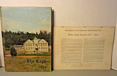 """""""THE EAGLE"""" 1962 Yearbook from Willis High School in Willis, VA with Directory"""