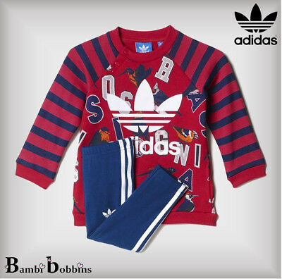 Adidas Originals Tracksuit Leggings Set Outfit Baby Girls Age 3-6-9-12-18 Months