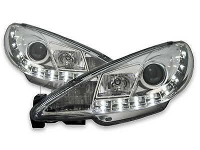 jogo Faros Optica LED diurnas para Peugeot 206 1998-2002 Luz do Dia Chrome ES LP