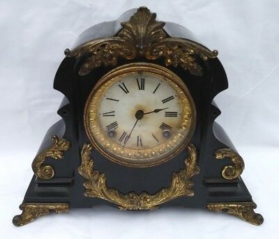 Unusual 19th century Americam cast metal mantle clock with beautiful ormolu moun