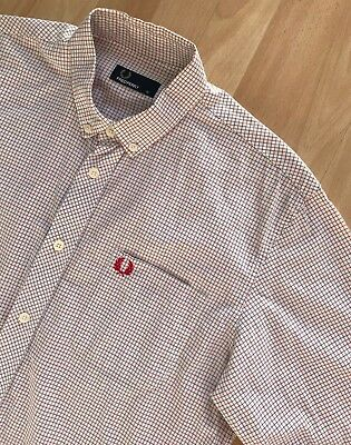 FRED PERRY LONG SLEEVE RED BLUE WHITE MICRO CHECK SHIRT M mod casuals classic