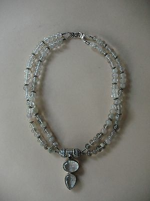 old Estate Chinese rock crystal NECKLACE pendant silver pools light 925 sterling