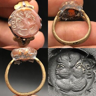 Roman king and Queen intaglio Rare Wonderful Old agate Ring