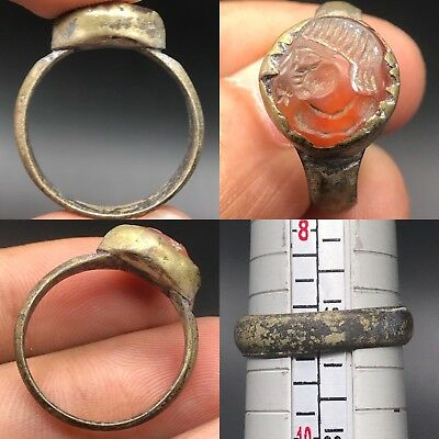 Beautiful Roman face  intaglio Rare Wonderful Old agate Ring