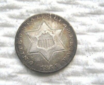 1855 3 Cent Silver..........XF Condition.....Key Date......Nice Strong Strike