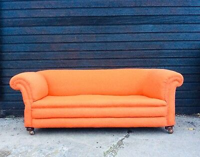 Antique Country House Victorian Drop End Burnt Orange Sofa Original Upholstery