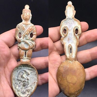 Rare medieval old bronze coin with male figure antique roman spoon