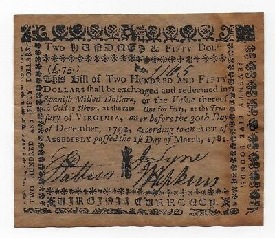 Virginia Continental Currency 250 Spanish Milled Dollars 1781 Free Shipping