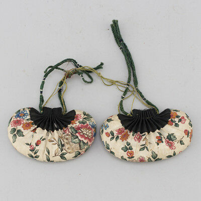 (2) LATE 19th Century ANTIQUE CHINESE CHINA EMBROIDERY SCENT PURSE BAG