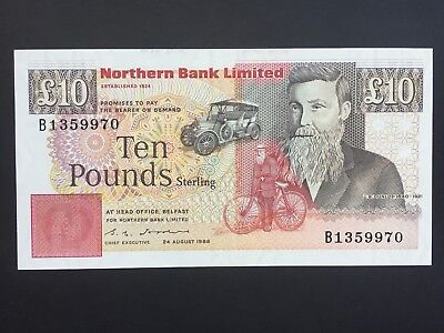 Northern Ireland Northern Bank Limited 10 Pounds issued 1988 aUNC