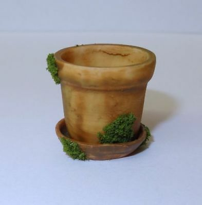 Dollhouse Mossy Aged Flower Pot Set for 1:12 Scale Doll House Miniature Garden
