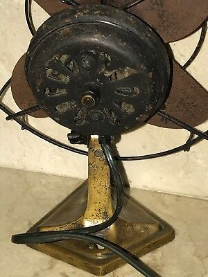 Rare Antique Cast Brass Metal Iron Vintage Electric Wall Mount Desk Pancake Fan