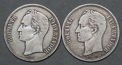 1900 & 1924 Venezuela 5 Bolivares Y# 24.2 - Lot of 2 Coins