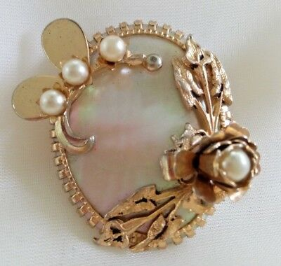 Vintage Art Nouveau Deco MOP Flower Pearl Brooch Oval Mother of Pearl Gold Tone