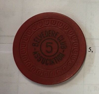 Belvedere Club Hot Springs Illegal Gambling Casino Token Rare. BCA #2 NR
