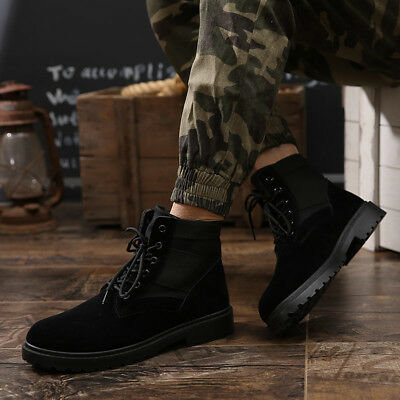 best service bac15 aad64 Men s Warm Ankle Martin Boots Lace Up Combat Patrol Shoes Outdoor Hiking  Booties