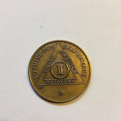 AA 2 Years Sober Bronze Token Chip Coin Medallion Sobriety Alcoholics Anonymous