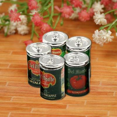 5Pcs Mini Fruit Canned Dollhouse Miniature Food Kitchen Doll Accessories  Hot