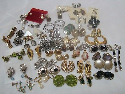 Lot Of Vintage To New Clip On Ear Rings 42 Pair Plus 4 Silver Pair