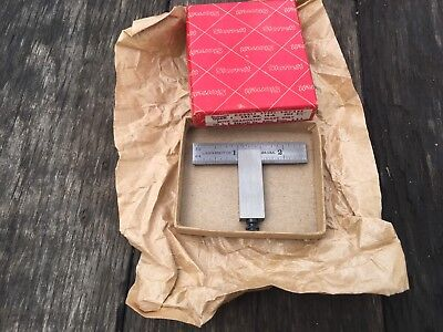 "Starrett Double Steel Square No14-A 2 1/2"" w/box graduated blade Athol,Mass Nice"