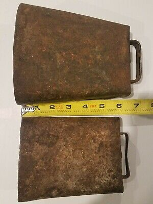 2 Vintage Antique Old Metal Cow Bells Iron Clappers