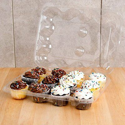 Mini Cupcake /Muffin Container 12 Compartment pack of 50 BPA Free Crystal