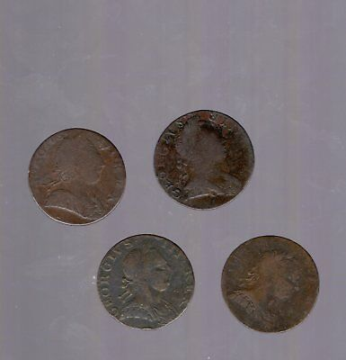 Group of Four King George III, Non Regal Halfpennies 1770's