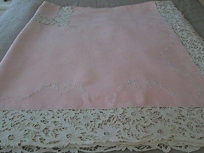 Antique Madeira Pink Linen Cut Work Floral Lace.embroidery Banquet Tablecloth..