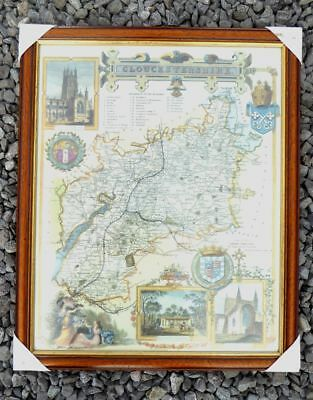 framed reproduction of old County Map of Gloucestershire