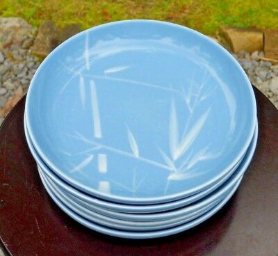 VINTAGE Set of 6 Winfield Blue Pacific China Salad Plates Bamboo Pattern