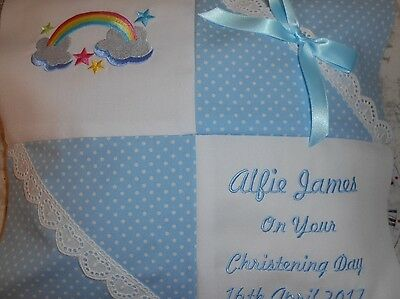 Personalised Embroidered Baby Cushion Rainbow Design