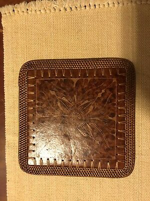 Pier 1 Imports square LEATHER trivet weaved edging pot holder 10x10""