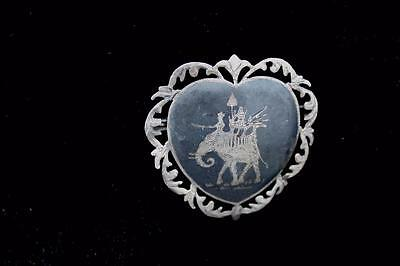 """Rare 1920'S-1930'S Silver """"Elephant"""" Etched Siam Pins 1 3/4 Inch Width & Length"""