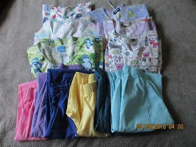 Lot Of Women's 23 Pc. Scrubs - Sizes Small / Medium - 6 Pants And 17 Tops - All