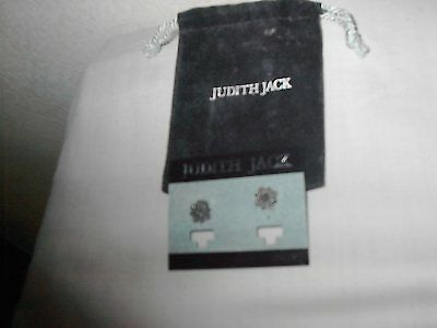 Vintage Pair of Judith Jack Small Sterling Pierced Earrings w/ Black Suede Pouch