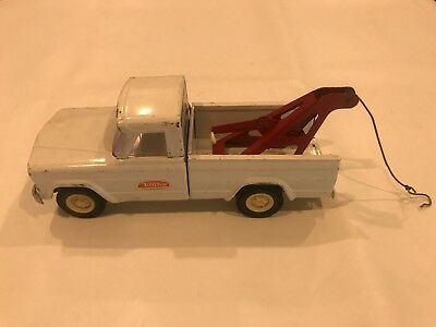 Tonka Vintage Jeep Pressed Steel Tow Truck Wrecker White 1960's