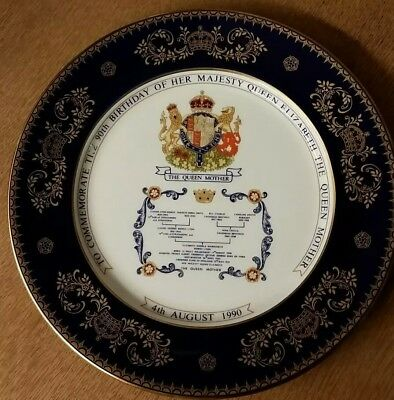 Aynsley commemorative Queen Mother 1990 90th Birthday decorative plate