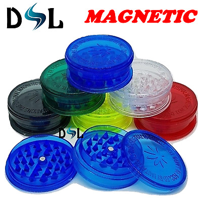 No1 Magnetic Plastic 3 Part Herb Tobacco Grinder Extra Stash Storage Shark Teeth