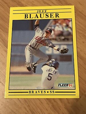 1991 Fleer Braves Jeff Blauser Baseball Card