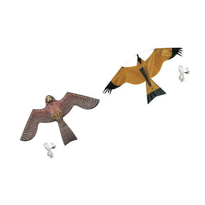 2Pcs Bird Scarer Repeller Flying Hawk Kite Kit Garden Scarecrow Yard Decor