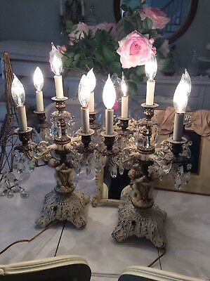 Shabby Antique Vtg Pair Table Chandeliers Candelabra Lamps Crystal Prisms cherub